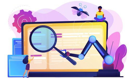 Laptop and software assisting in testing process, tiny people testers. Automated testing, automotive executed test, software auto tester concept. Bright vibrant violet vector isolated illustration