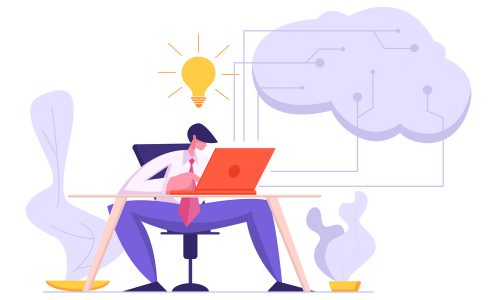Software Developer Coding with Laptop. Artificial Intelligence, Digital Mind Concept with Male Character Project Manager Programming Website. Vector flat cartoon illustration