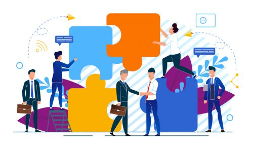 Horizontal Vector Illustration Office Situation. Businessmen make Partnership Deal. Business Agreement Between Entrepreneurs. Men in Business Suits Assemble Puzzle. Meeting People.